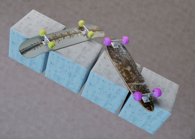 Mock-up skateboards opleggen van kubussen