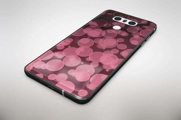 Mock up de smartphone burbujas rosas