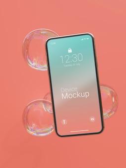 Mock-up smartphone met abstracte vloeistoffen