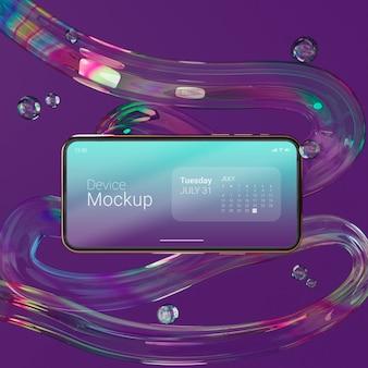 Mock-up smartphone met vloeibare dynamische elementen