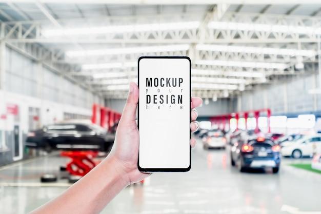 Mock-up smartphone voor auto-online service