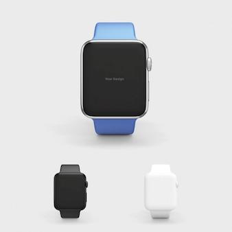Mock up de smartwatch con correa azul