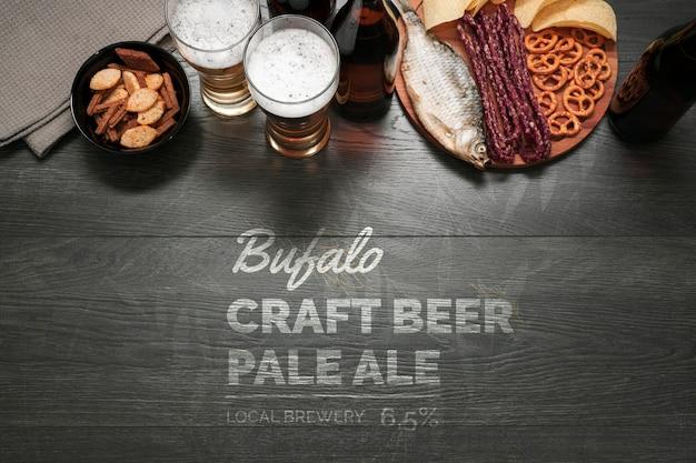 Mock-up snacks voor ambachtelijk bier