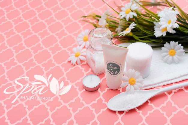 Mock-up spa-behandeling met natuurlijke producten