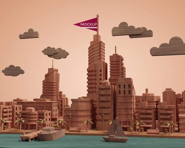 Mock-up stad 3d-gebouw miniatuur model
