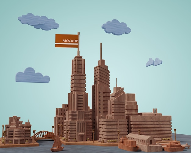 Mock-up steden 3d-gebouwen