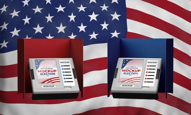 Mock-up stemhokjes voor presidentsverkiezingen voor de verenigde staten