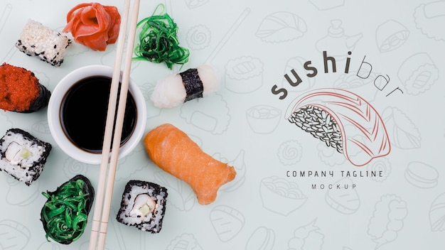 Mock-up sushi rolt met sojasaus