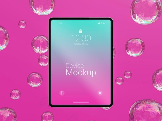 Mock-up tablet met abstracte vloeistoffen