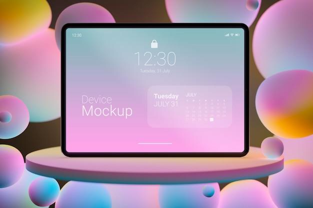 Mock-up tabletsamenstelling met vloeibare dynamische elementen