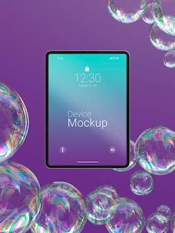 Mock-up tabletsamenstelling met vloeibare elementen
