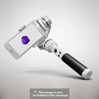 Mock up de teléfono móvil con palo selfie