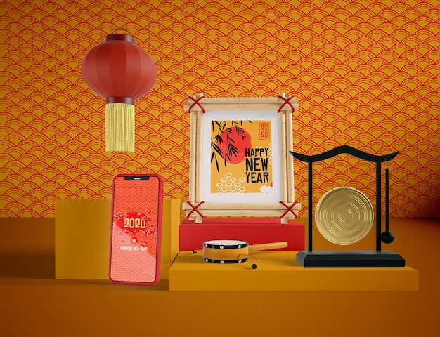 Mock up de teléfono con objetos tradicionales chinos