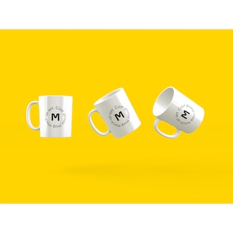 Mock up de tres tazas sobre fondo amarillo