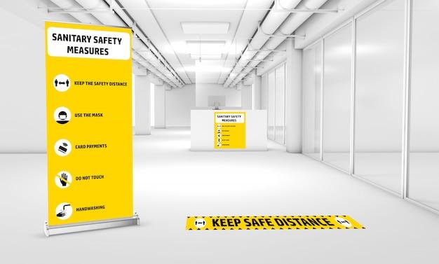 Mock-up van bewegwijzering om te informeren over de sanitaire veiligheidsmaatregelen