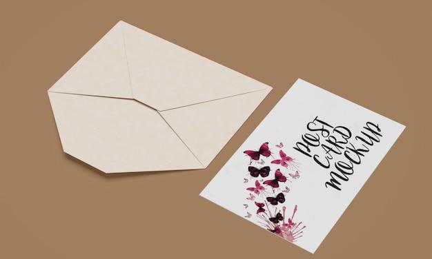 Mock-up van briefkaart en uitnodiging