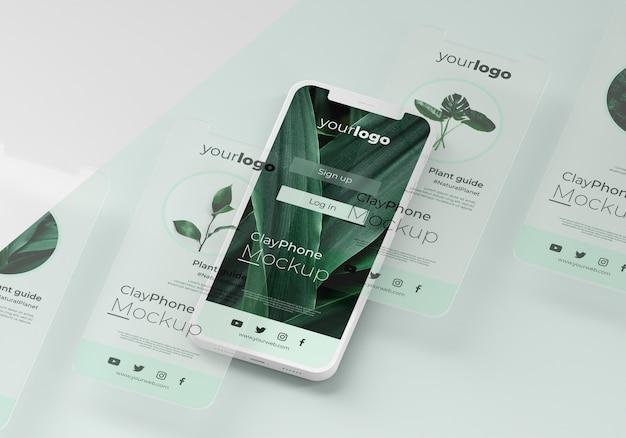 Mock-up van de interface op het display van de telefoon