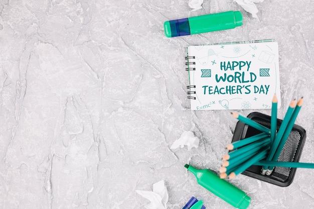 Mock-up van de werelddagleraar met boekje