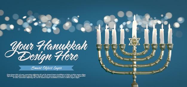 Mock up van een hannukkah-banner