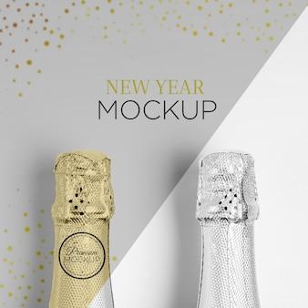 Mock-up van flessen met champagne