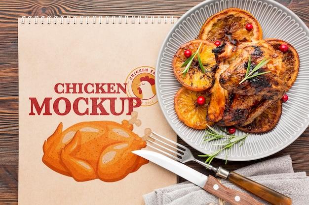 Mock-up van het assortiment van kippenmeel
