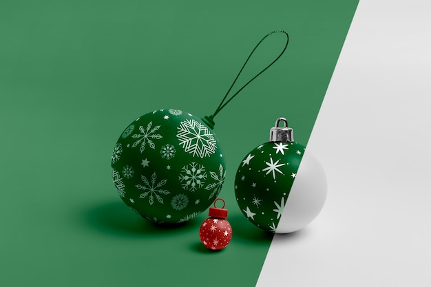 Mock-up van kerstbollen