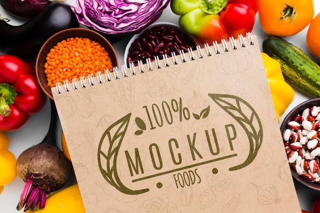 Mock-up van lokaal geteelde groenten met een hoge weergave