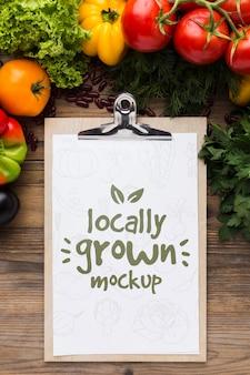 Mock-up van lokaal geteelde groenten