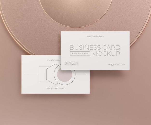 Mock-up van metalen zwevende koperen visitekaartje