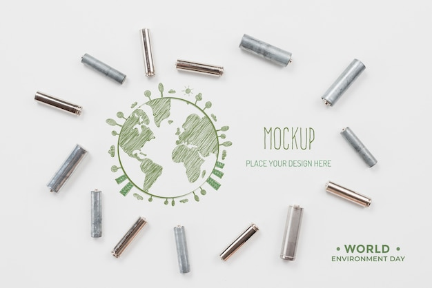 Mock-up van recyclebare objecten