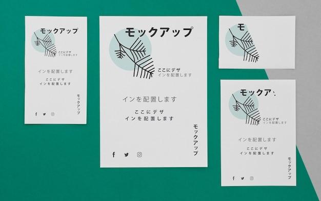 Mock-up van zakelijke japanse zakelijke documenten