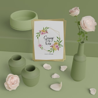 Mock-up vasi e carta di primavera