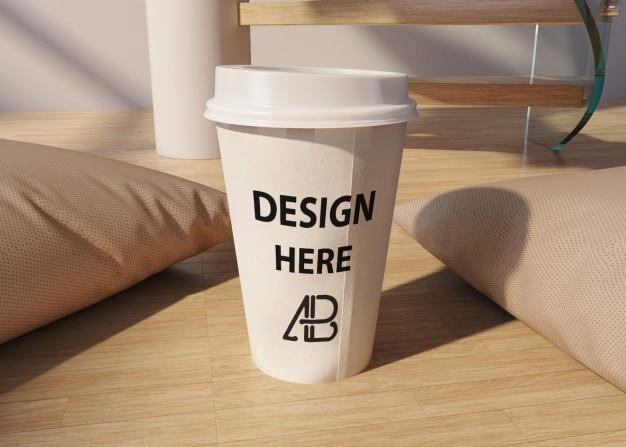 Mock up de vaso de café para llevar