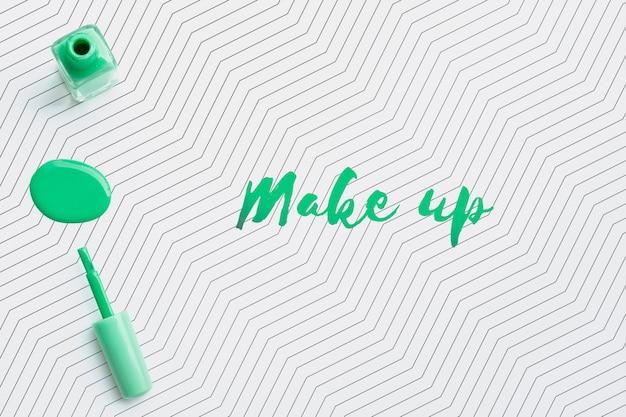Mock-up verde di concetto di trucco dello smalto
