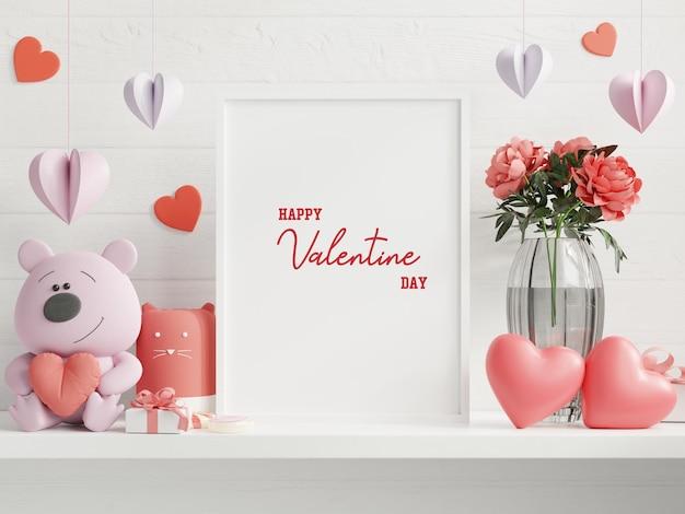 Mock up verlichte wissellijst in valentijn kamer, posters op lege witte muur achtergrond, 3d-rendering