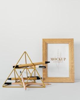 Mock-up voor briefpapier van natuurlijk materiaal