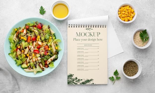 Mock-up voor gezonde voeding boven weergave