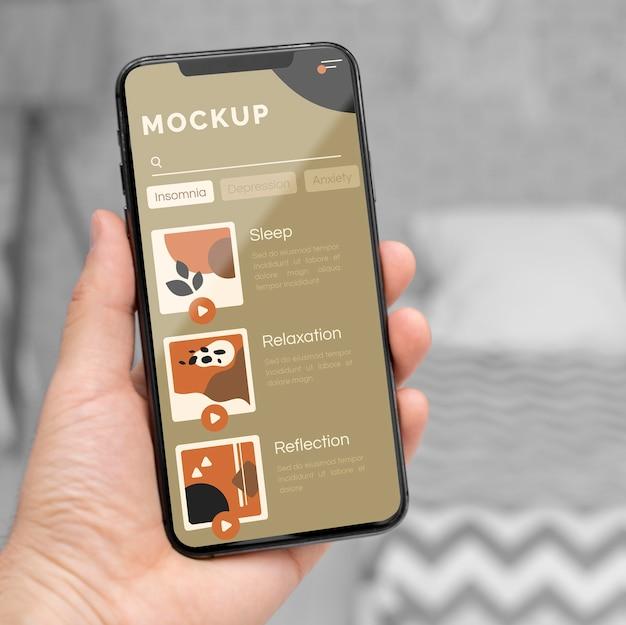 Mock-up voor mobiel scherm close-up Gratis Psd