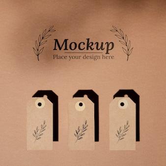 Mock-up voor tags van natuurlijk materiaal