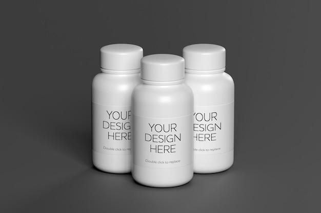 Mock-up weergave van een vitaminecontainer 3d-rendering