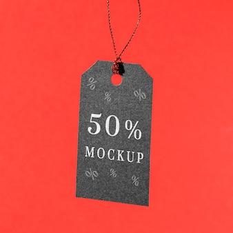 Mock-up zwarte vrijdag prijskaartje opknoping