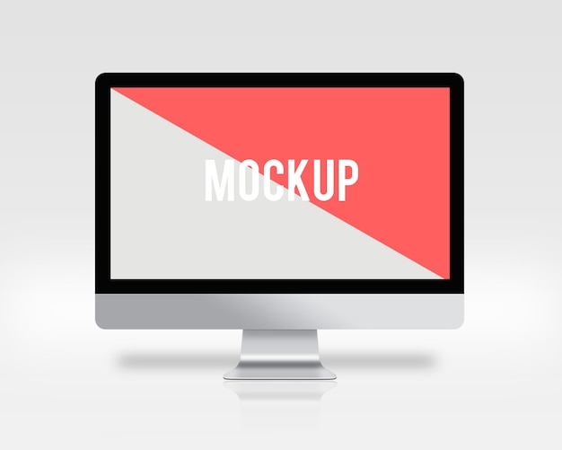 Mock upa de pantalla de ordenador sobre fondo blanco