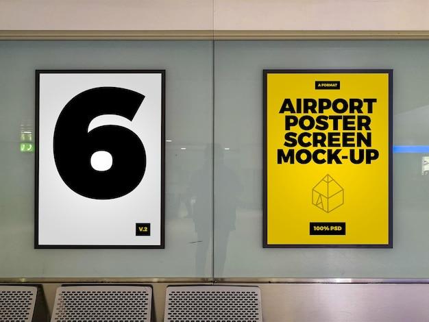 Mock-ups met affichescherm op luchthaven