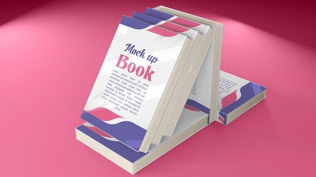 Mockup 3d-boek vanuit alle richtingen en uitzichten