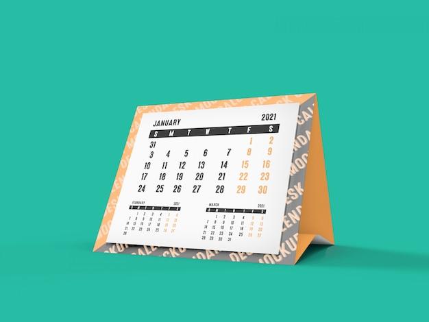 Mockup 3d del calendario da scrivania piramide 2021