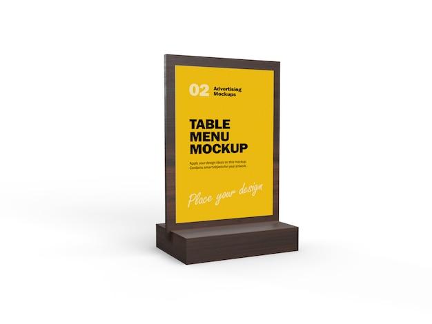 Mockup 3d del menu di cibo da tavola in legno per ristoranti