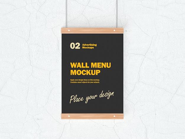 Mockup 3d di appendere menu di cibo per ristoranti