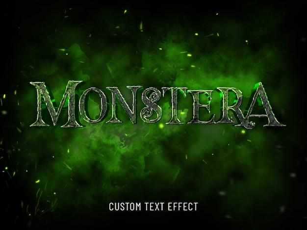 Mockup 3d monstera mockup stile di carattere di halloween