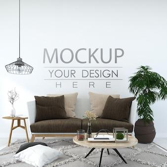 Mockup 3d psd de muebles interiores de pared vacía