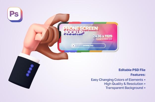 Mockup 3d-tekenfilmhand met mouw die de telefoon aan de linkerkant in liggende richting toont en vasthoudt
